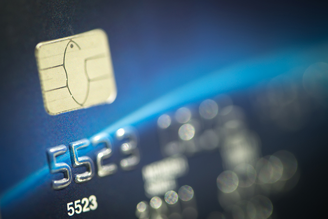 Close up shot of credit card with smart chip.